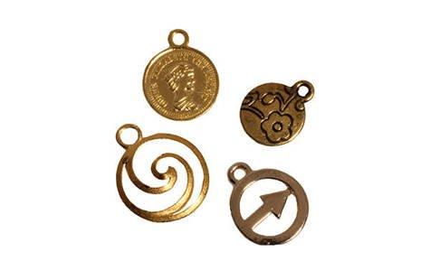 Zestaw Metalowych zawieszek Okrągłe złoto 40sztuk